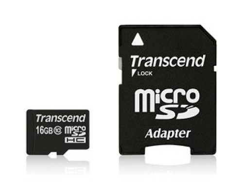 Micro SecureDigital 16Gb Transcend TS16GUSDHC10 MicroSDHC Class 10, SD adapter