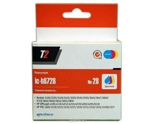 T2 C8728HE Картридж (IC-H8728) №28 для HP Deskjet 3320/3520/3550/5650/1210/1315/Officejet 4110/6110, цветной, 180 стр.