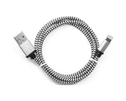 Кабель Gembird USB 2.0 Cablexpert CC-ApUSB2sr1m, AM/Lightning 8P, 1м, нейлоновая оплетка, алюминиевые разъемы, серебристый, пакет