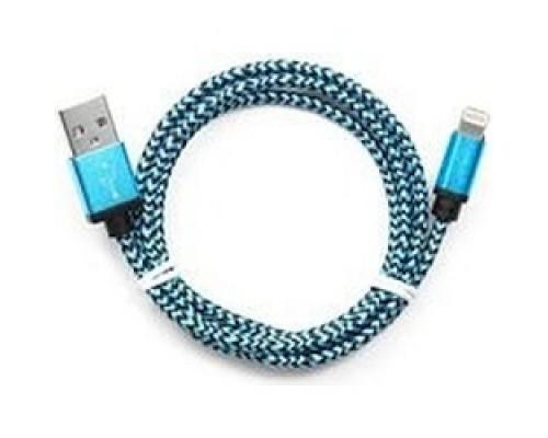 Кабель Gembird USB 2.0 Cablexpert CC-ApUSB2bl1m, AM/Lightning 8P, 1м, нейлоновая оплетка, алюминиевые разъемы, синий, пакет