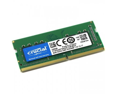 Модуль памяти Crucial DDR4 SODIMM 4GB CT4G4SFS824A PC4-19200, 2400MHz